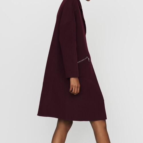 Abrigo de lana doble faz : Prêt-à-porter color Burdeos