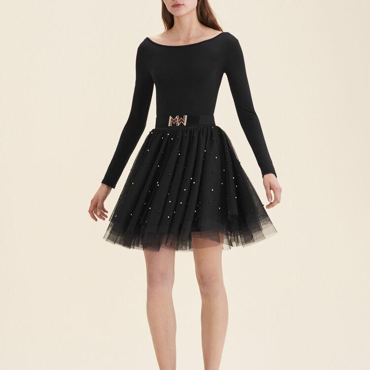 Falda corta de tul con perlas : Faldas y shorts color Negro