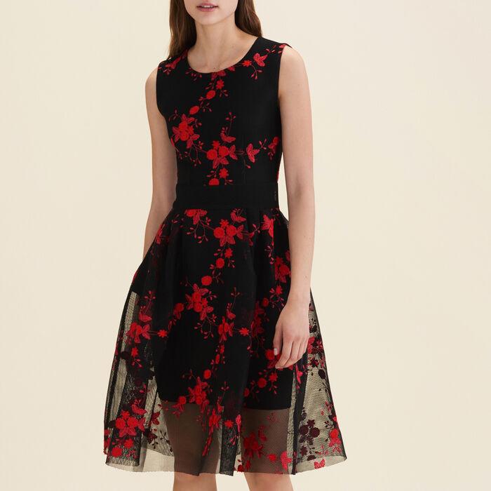 Vestido sin mangas de tul con bordados : Vestidos color Negro