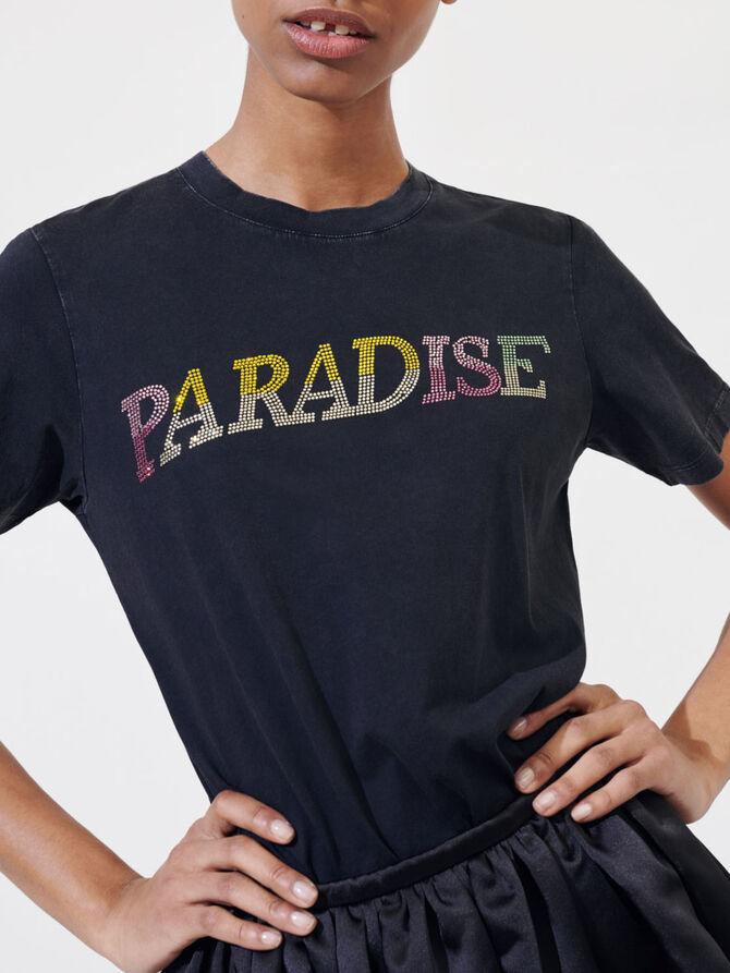 Camiseta «Paradise» con strass - T-Shirts - MAJE