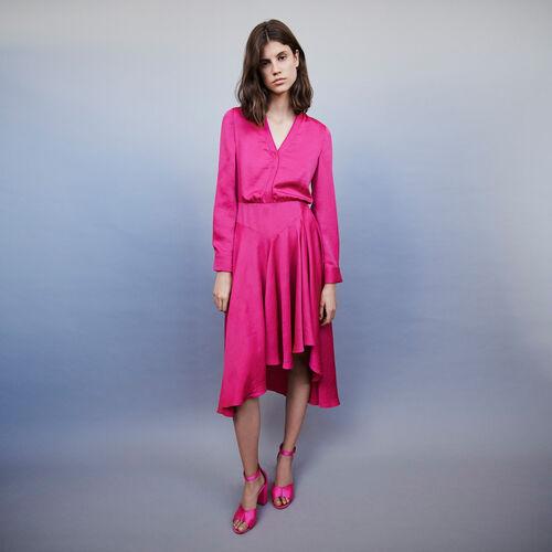 Vestido de raso asimétrico : Vestidos color Fucsia