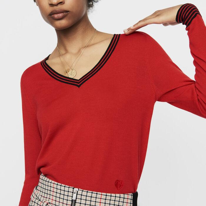 Jersey fino de lana de merinos : Malla color Rojo