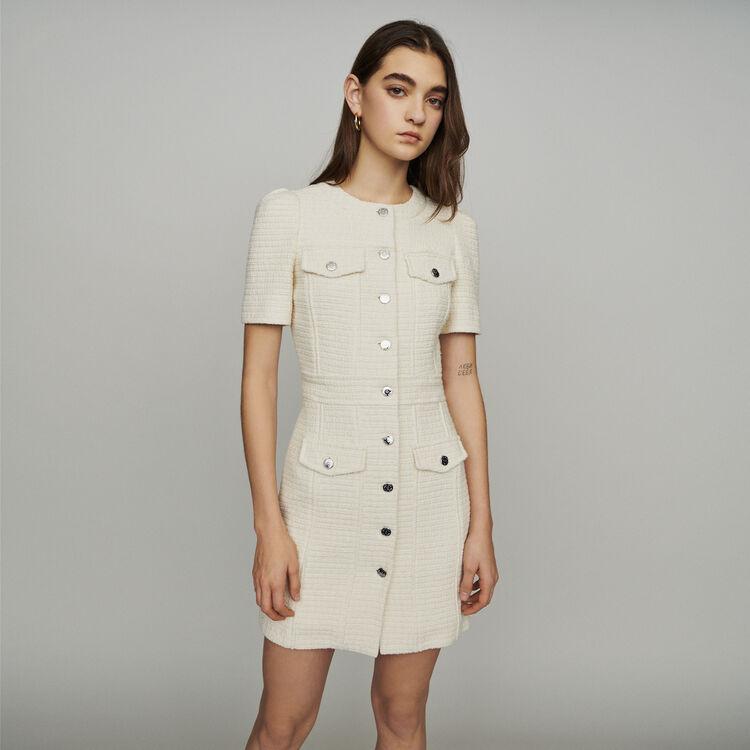 Vestido recto estilo tweed : Vestidos color Crudo