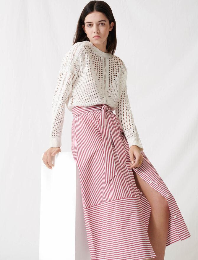Falda larga de rayas con lazo - Faldas y shorts - MAJE