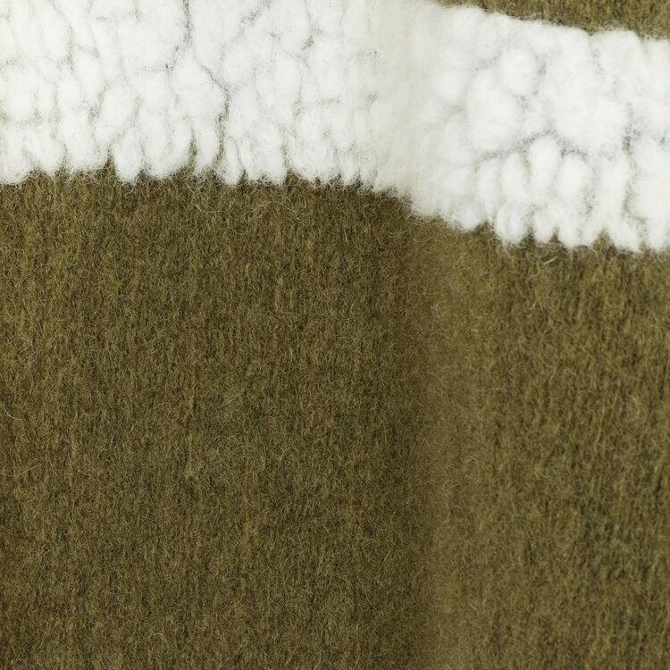Poncho mezcla de materiales : Accesorios color Caqui