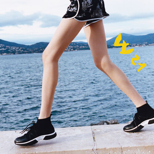 Sneakers altos de punto stretch : Sneakers color Negro