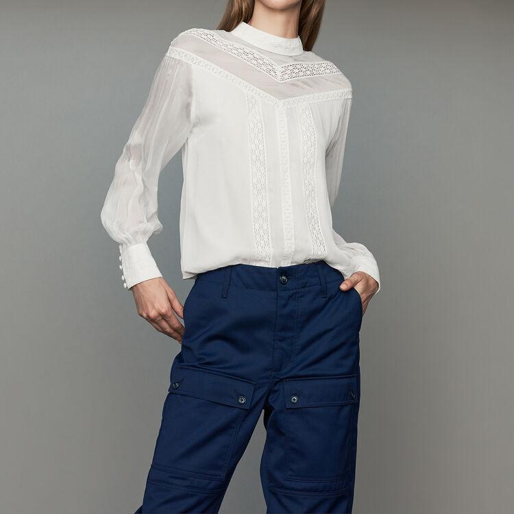 Blusa de gasa con bordados : Tops color Negro