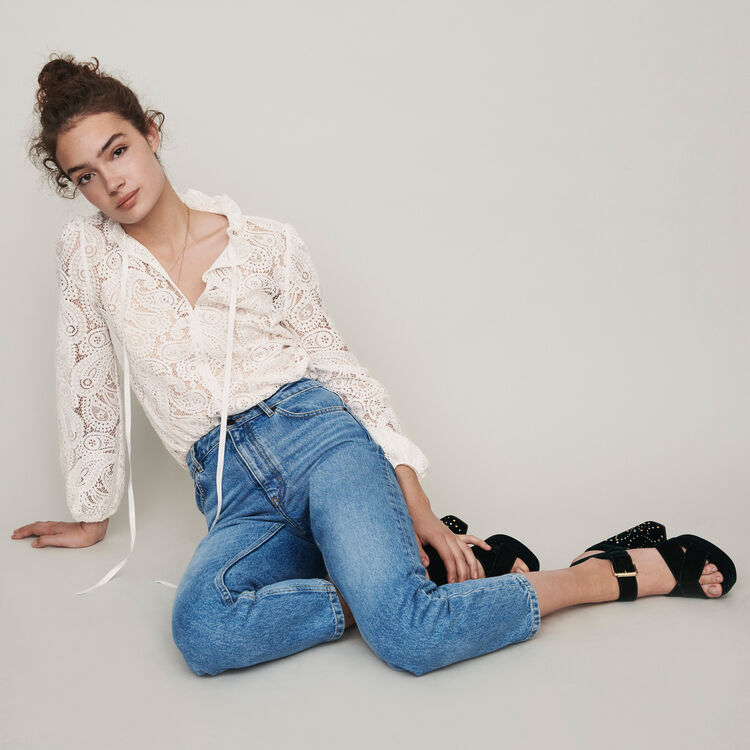 Jean tiro alto : Pantalones y Jeans color Azul