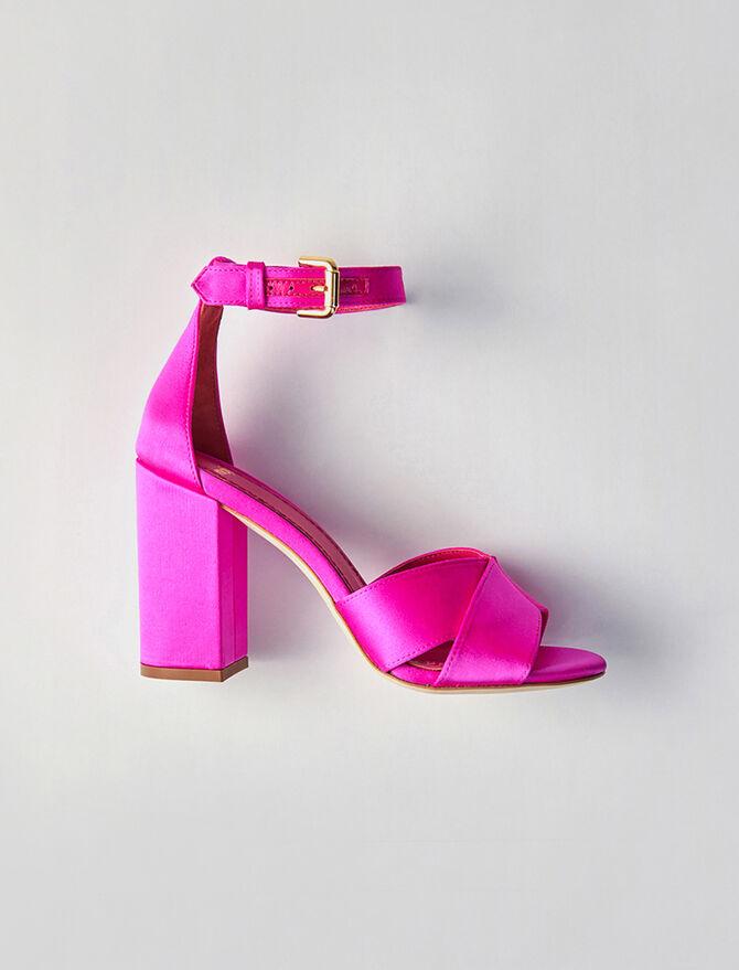 Sandalias de raso con tacón - Todos los zapatos - MAJE
