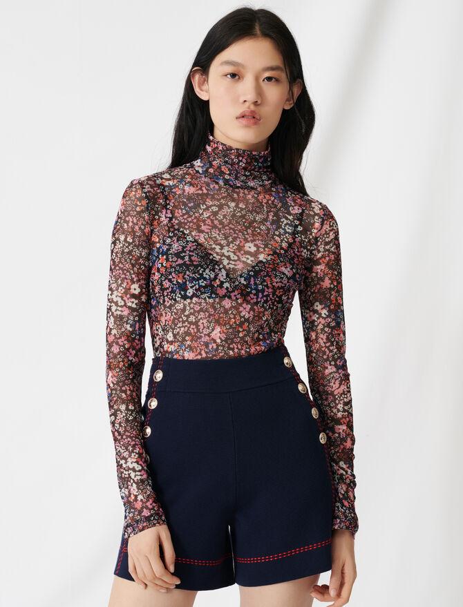 Top de rejilla con estampado floral - T-Shirts - MAJE