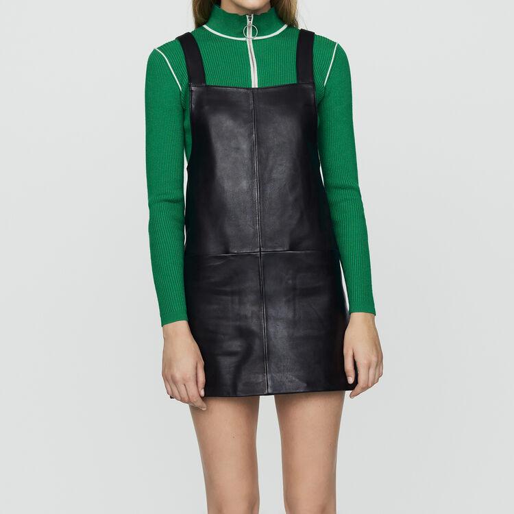 Vestido casulla de cuero : Vestidos color Negro
