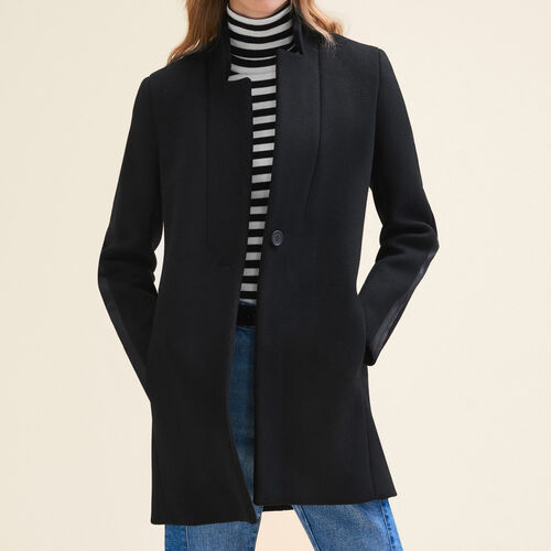 Abrigo recto de lana : Abrigos & Cazadoras color Negro