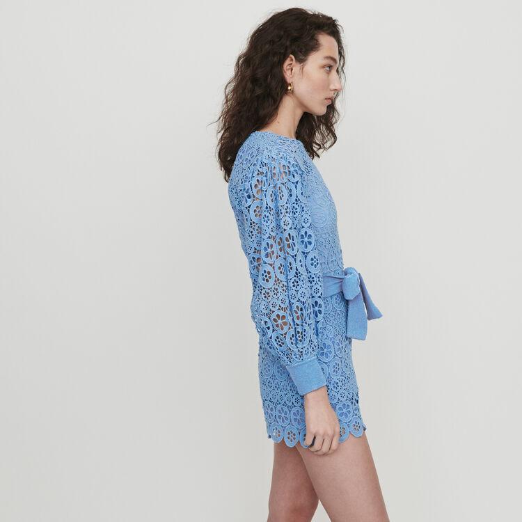 Mono Short de guipur margaritas : Faldas y shorts color Azul