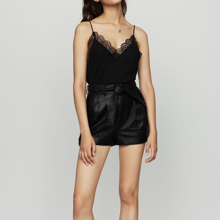Short ancho de cuero : Piel color Negro