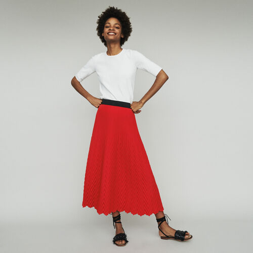 Falda larga con pliegues : Faldas y shorts color Rojo