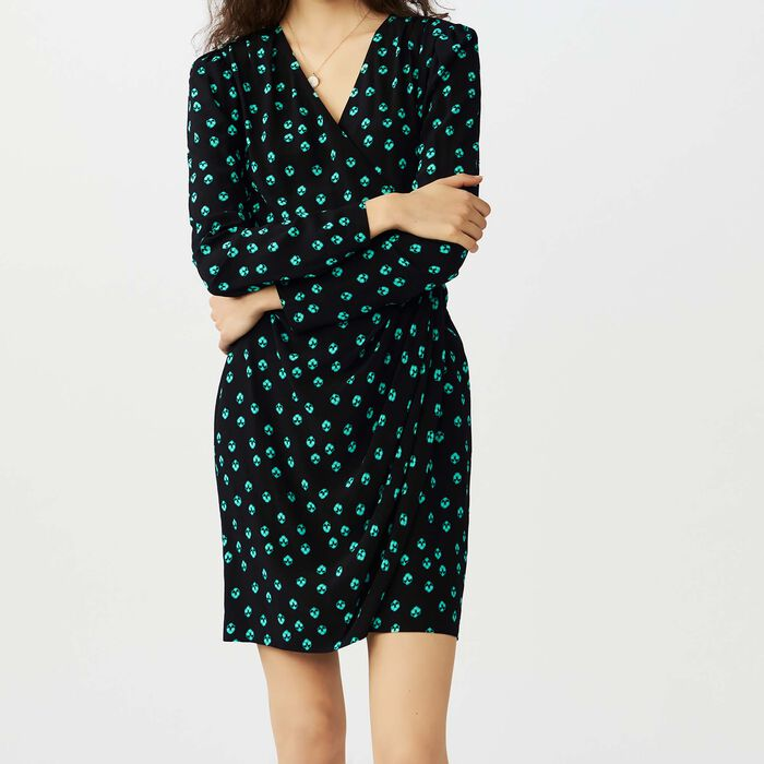 Printed V collar dress : Vestidos color IMPRIME