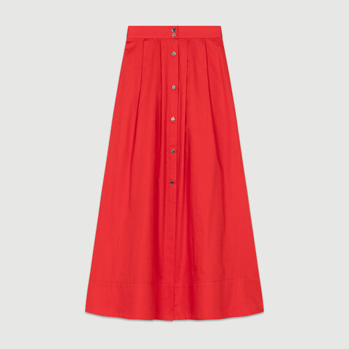 Falda larga de algodón abotonada : staff private sale color Rojo