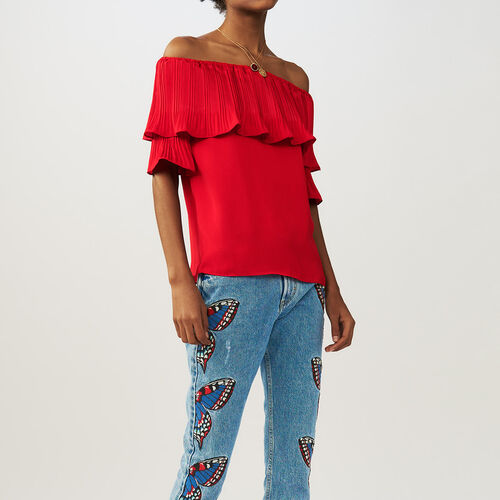 Pleated frills top : staff private sale color ROUGE