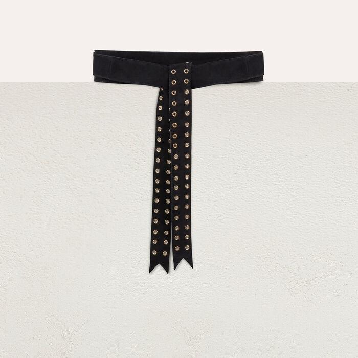 Cinturón de ante con ojales : Cinturones color Negro