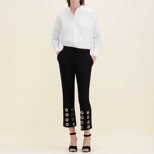 Pantalón recto con ojales de crepé : Pantalones y vaqueros color Negro