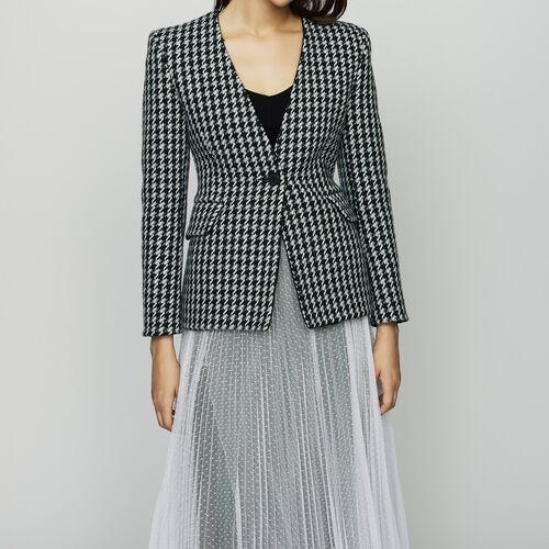 Vestido de lana pata de gallo : Chaquetas color Jacquard