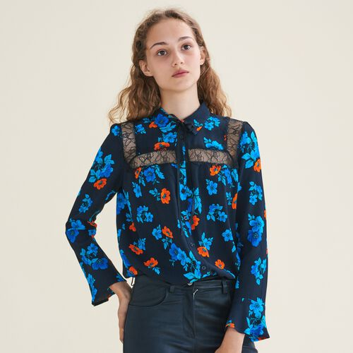 Bedruckte Hemdbluse mit Spitze : Tops color IMPRIME