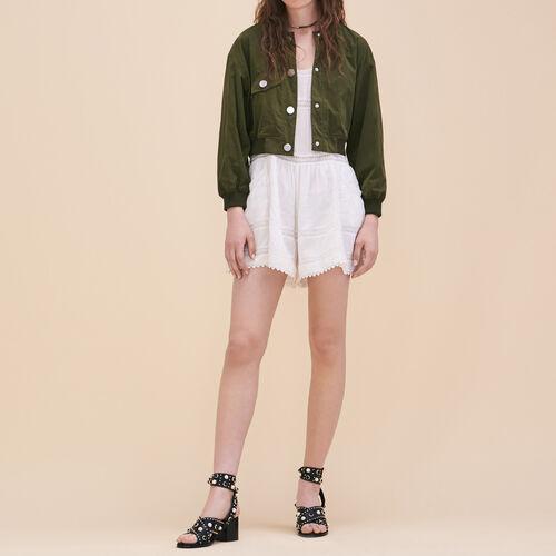 Monoshort de encaje : Faldas y shorts color Crudo