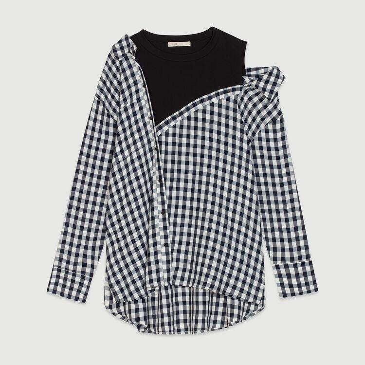 Camisa trompe-l'oeil en vichy : Tops y Camisas color CARREAUX