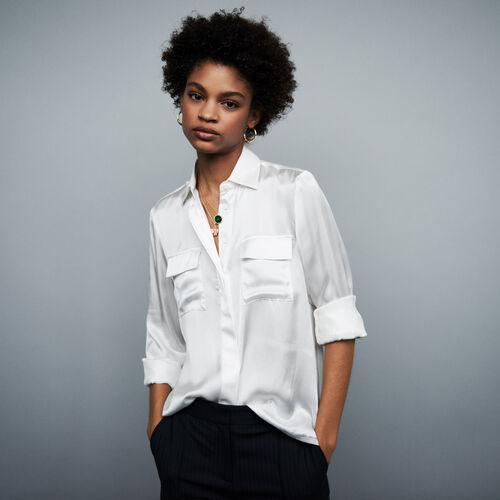 Camisa satinada de seda : Tops y Camisas color Terracota