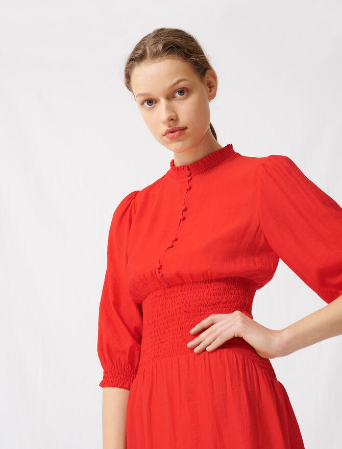 Vestido midi fruncido rojo - Vestidos - MAJE