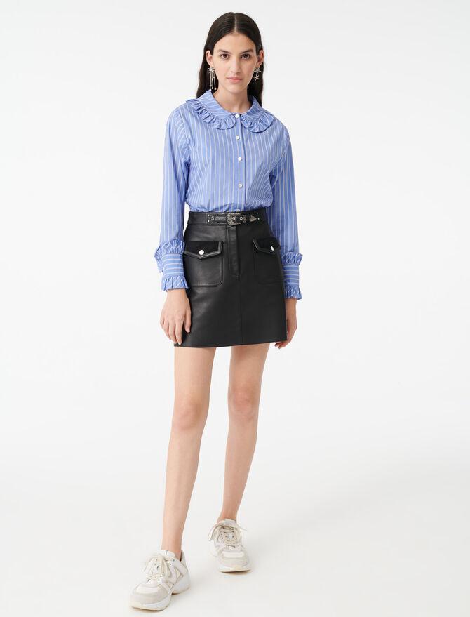 Camisa de rayas con cuello de volantes - Tops y Camisas - MAJE