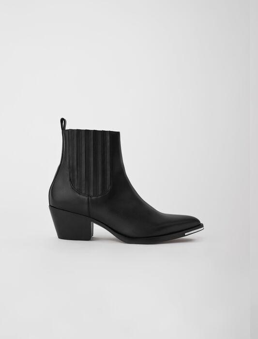 Botines cowboy de piel : Botas y Botines color Negro