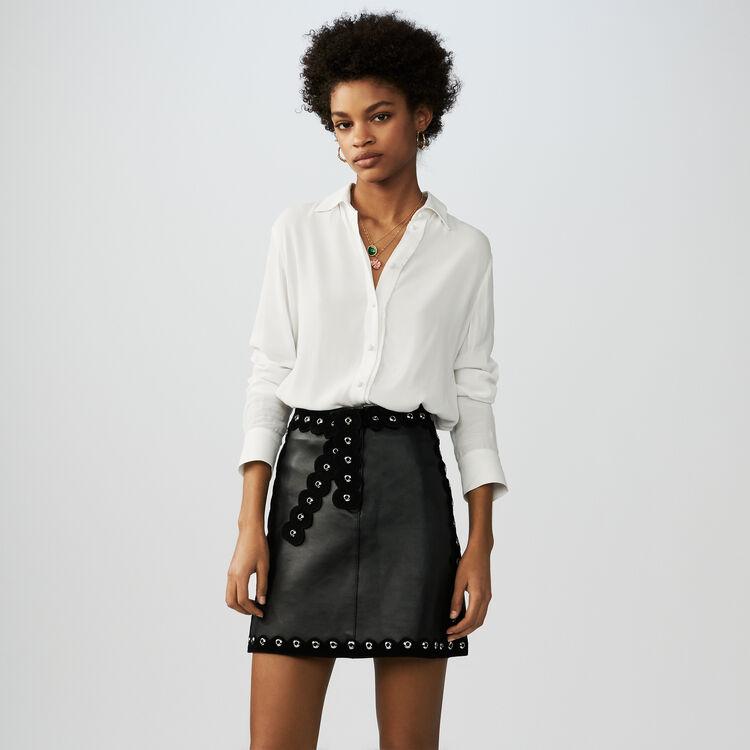 Falda corta de cuero : null color Negro