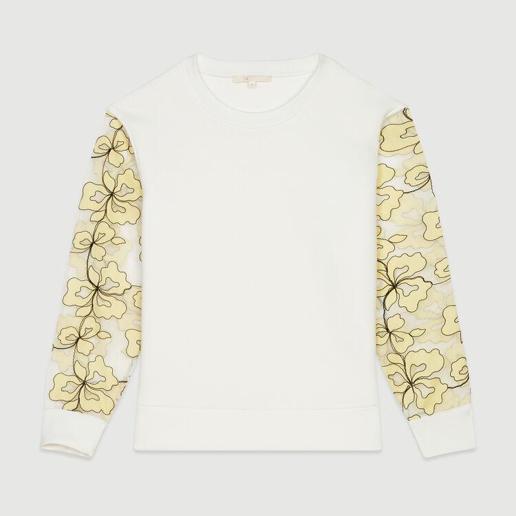 Sudadera con detalles de organza : Jerseys y cárdigans color Blanco