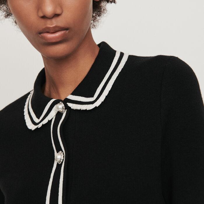 Jersey tipo polo a contraste y joya : Jerseys y cárdigans color Negro