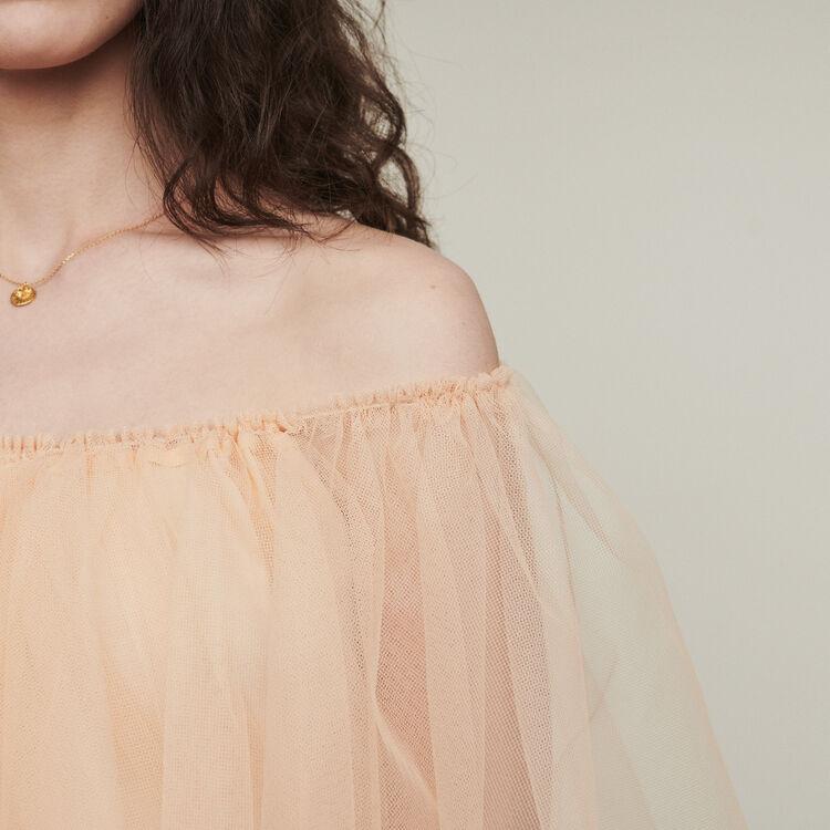 Vestido de tul con hombros descubiertos : Vestidos color Mandarina