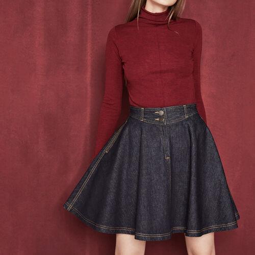 Falda trapecio de denim bruto : Faldas y shorts color Denim