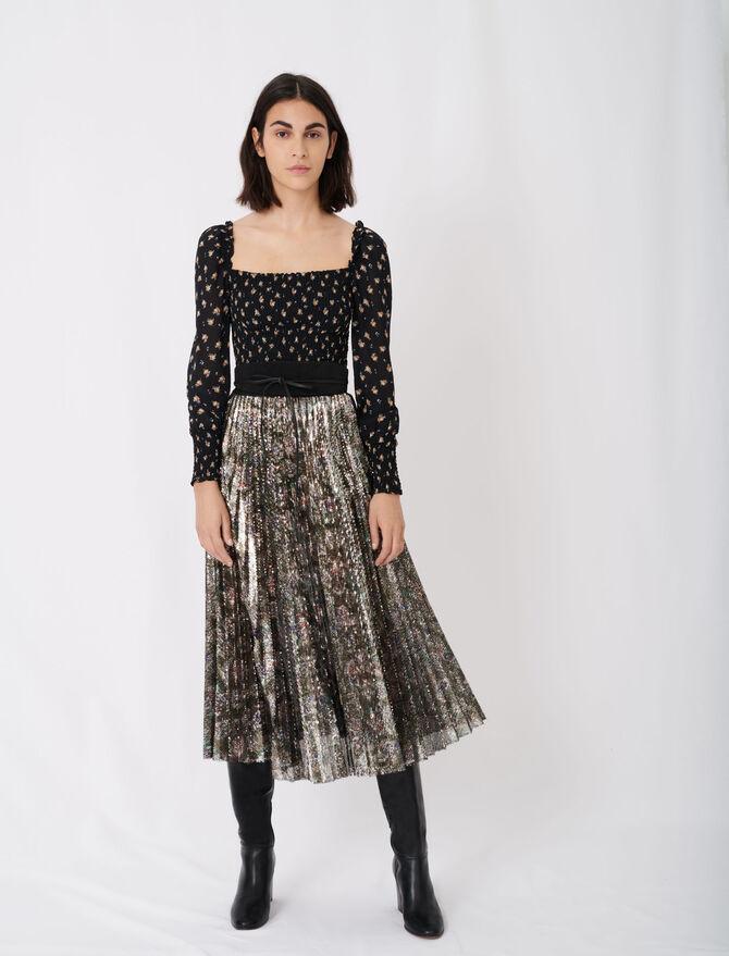 Falda plisada de lentejuelas - Nueva colección - MAJE