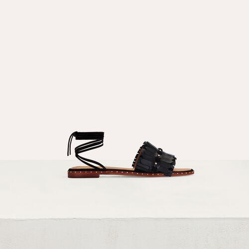 Sandalias planas con lazos : Zapatos planos color Negro