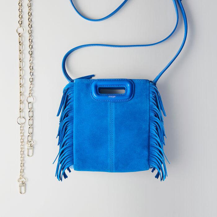Bolso M Mini gamuza bicolor con cadena : M Mini color Azul