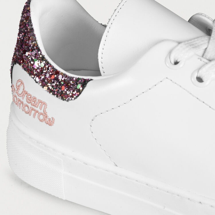Deportivas de cuero con brillantina : Sneakers color Blanco
