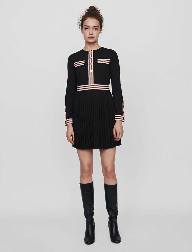 Vestido plisado con bandas a contraste - Vestidos - MAJE