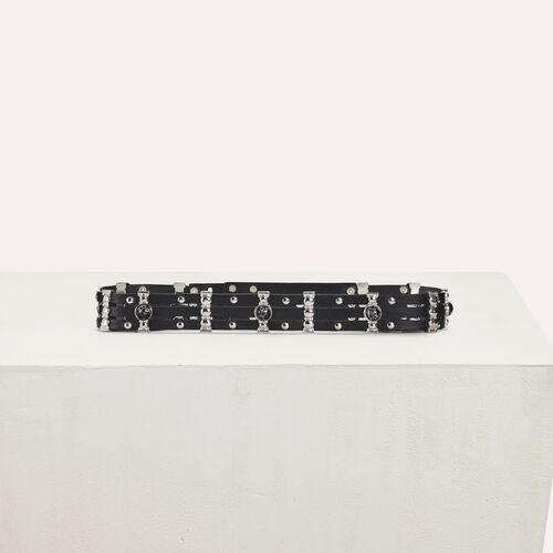 Cinturón tiro alto de cuero y metal : Cinturones color Negro