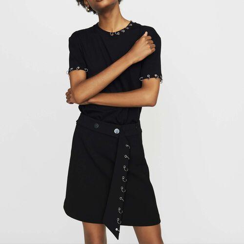 Camiseta de algodón con ojales : Nueva Colección color Negro