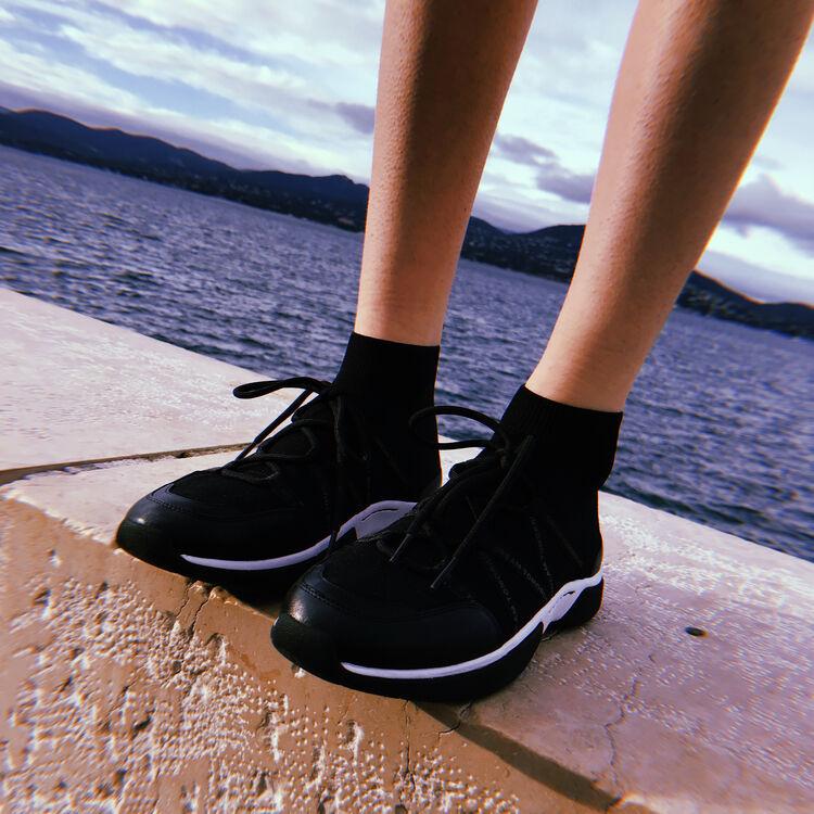 Sneakers altos de punto stretch : Sneakers color Negro