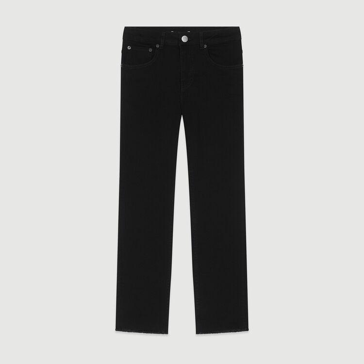 Jean recto con flecos y bordados : Pantalones y Jeans color Negro