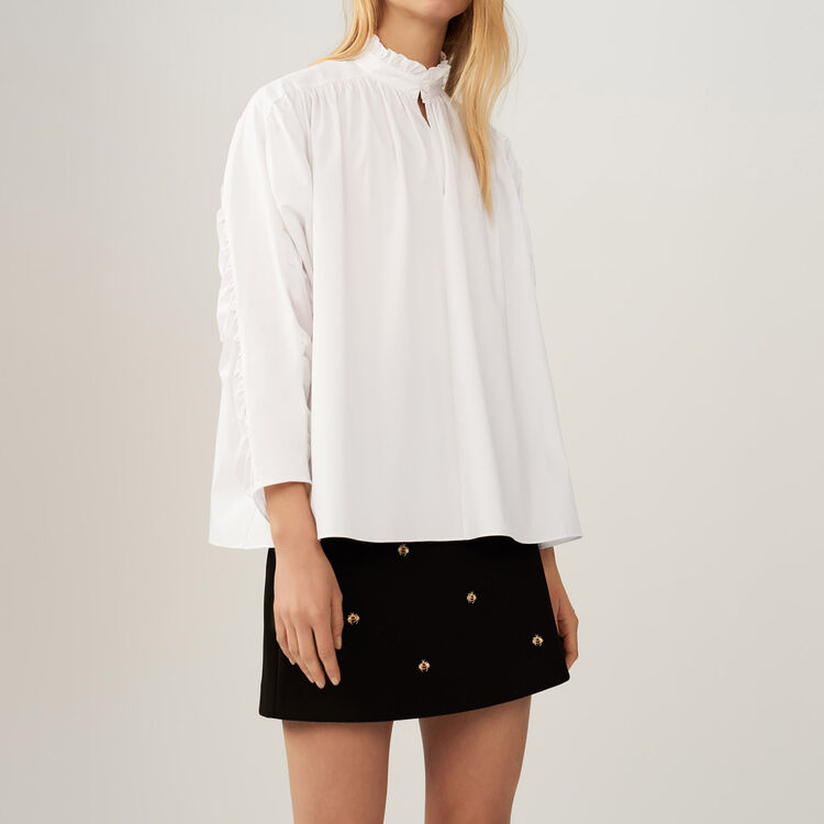 Blusa extragrande con fruncidos : Tops color Blanco