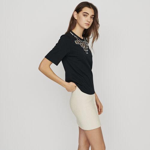 Camiseta con calados con strass : T-Shirts color NEGRO