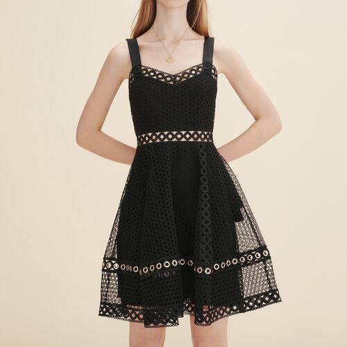 Vestido bordado con tirantes : Vestidos color Negro
