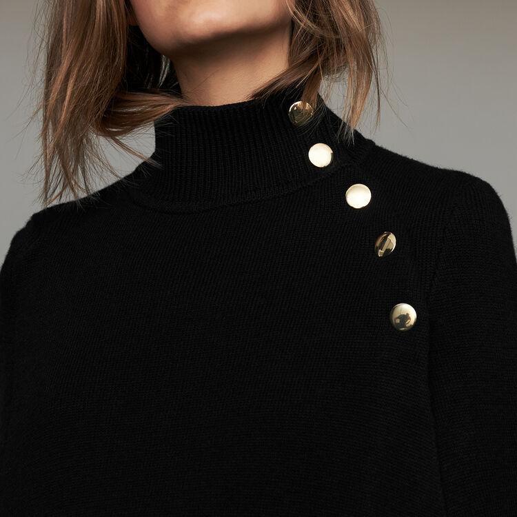 Poncho de lana mezclada : Malla color Negro